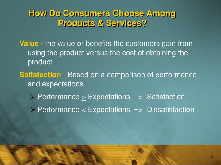 How Do Consumers Choose Among Products & Services?