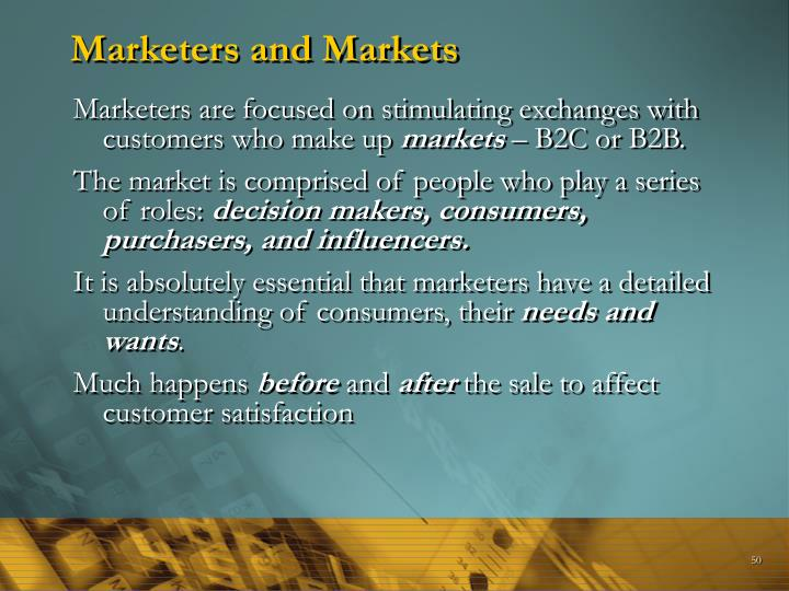 Marketers and Markets