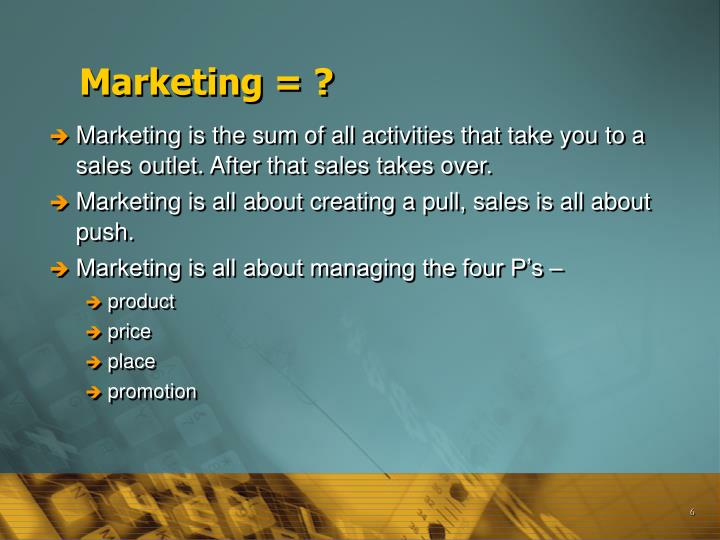 Marketing = ?