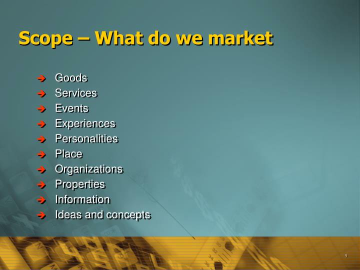 Scope – What do we market