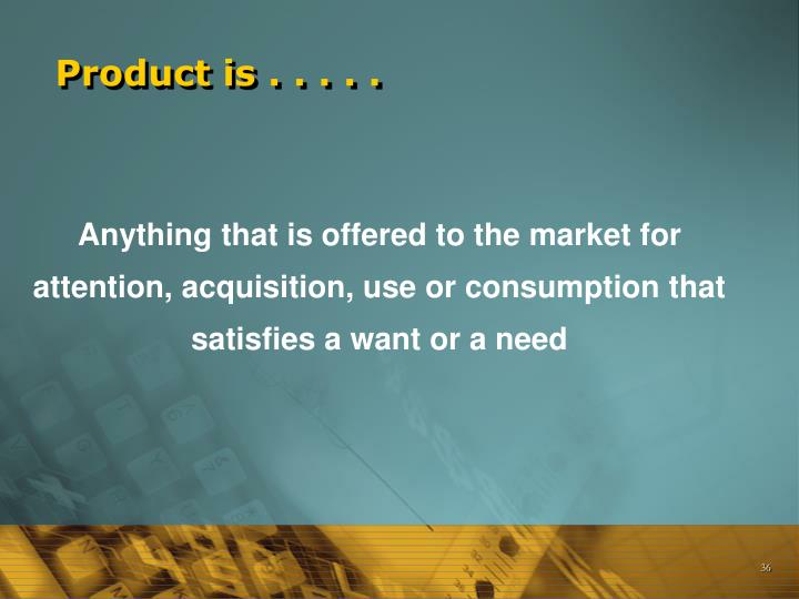 Product is . . . . .