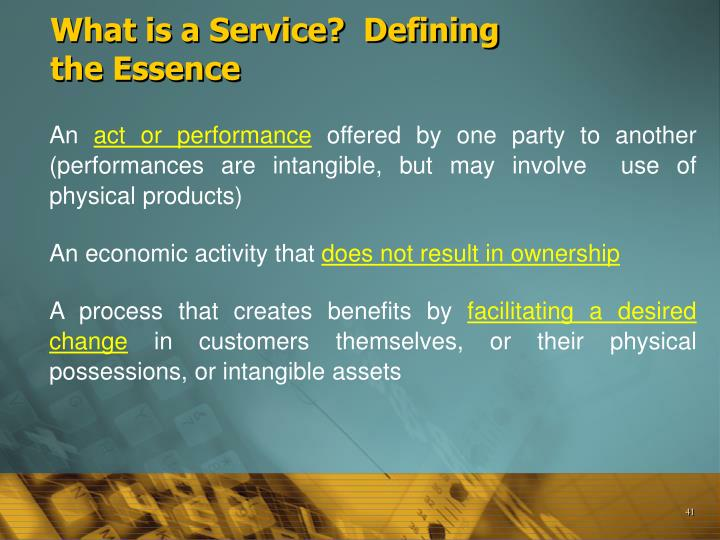 What is a Service?  Defining the Essence