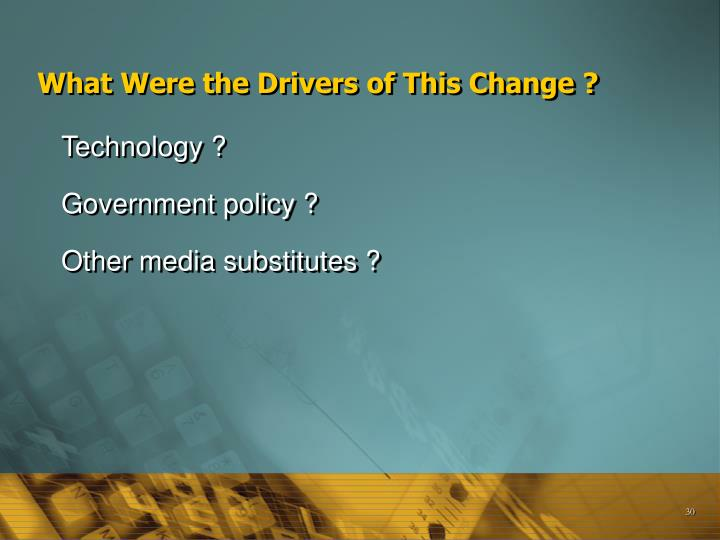 What Were the Drivers of This Change ?