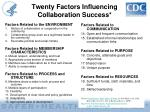 twenty factors influencing collaboration success