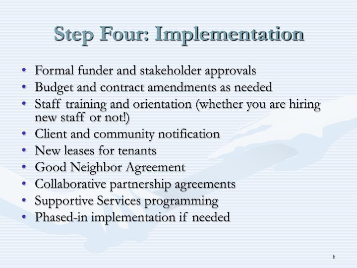 Step Four: Implementation