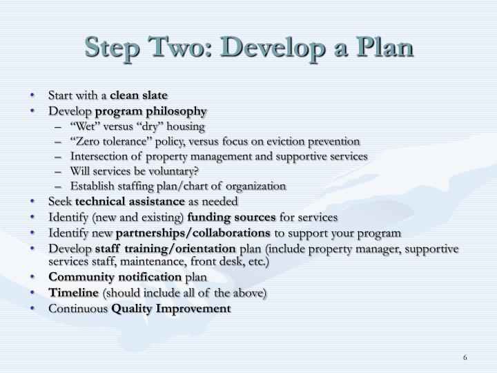 Step Two: Develop a Plan