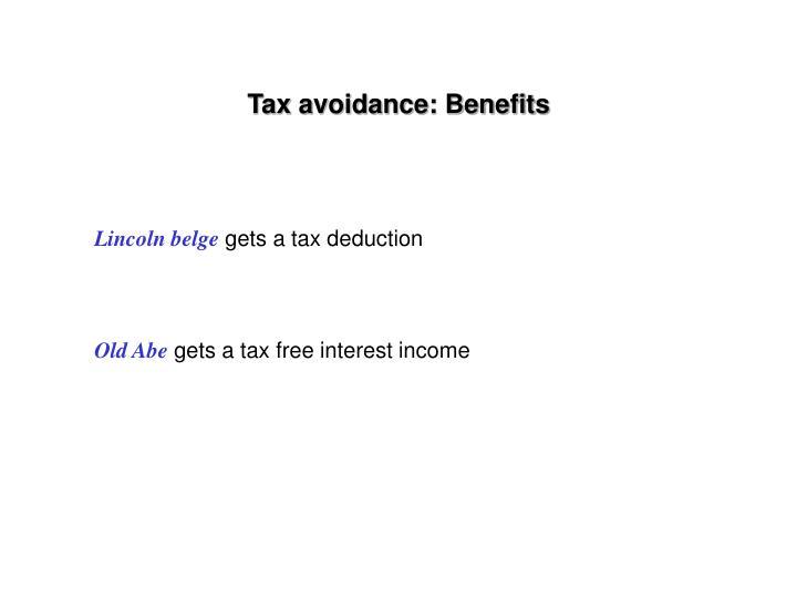 Tax avoidance: Benefits