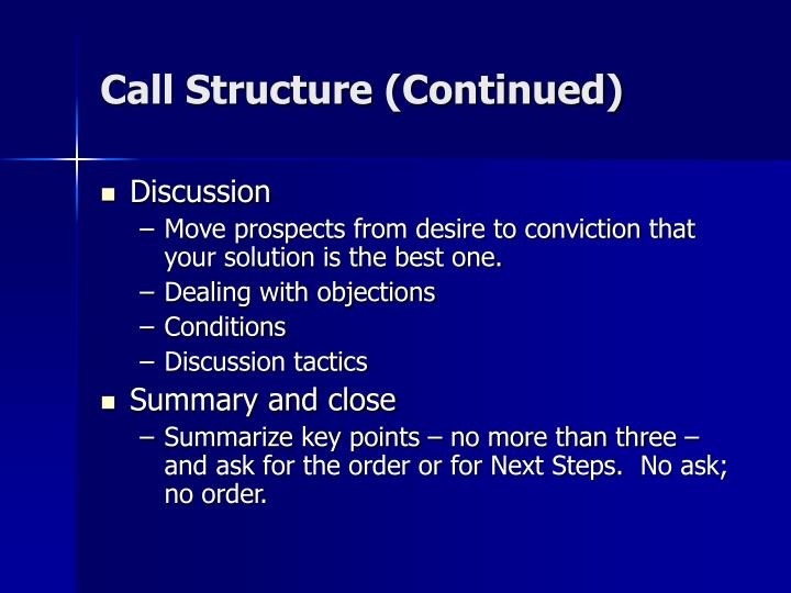Call Structure (Continued)