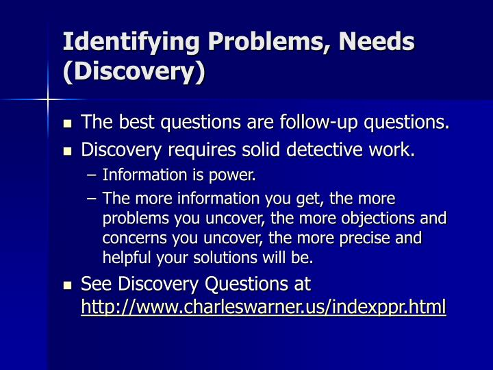 Identifying Problems, Needs (Discovery)