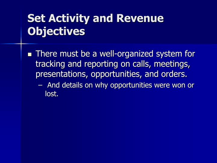 Set Activity and Revenue Objectives