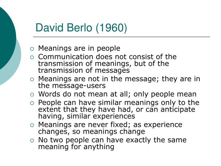 David Berlo (1960)
