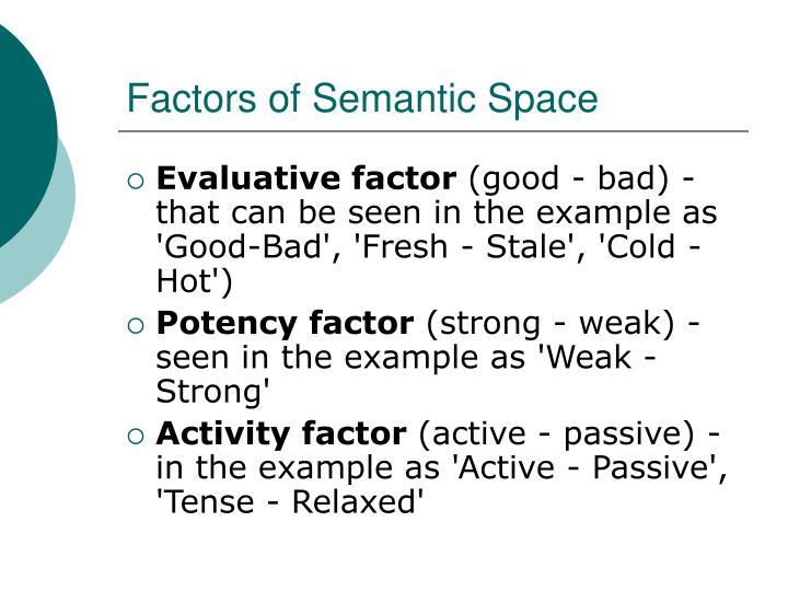 Factors of Semantic Space