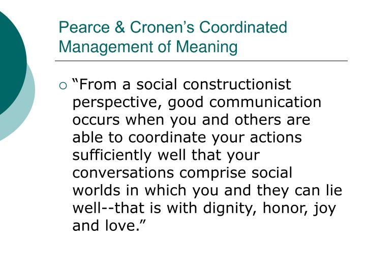 Pearce & Cronen's Coordinated Management of Meaning