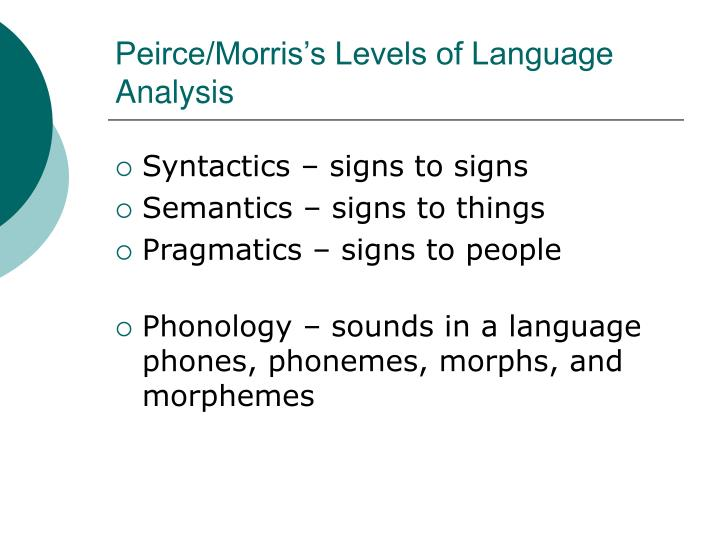 Peirce/Morris's Levels of Language Analysis