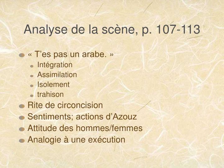 Analyse de la scène, p. 107-113