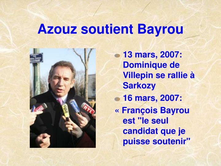 Azouz soutient Bayrou