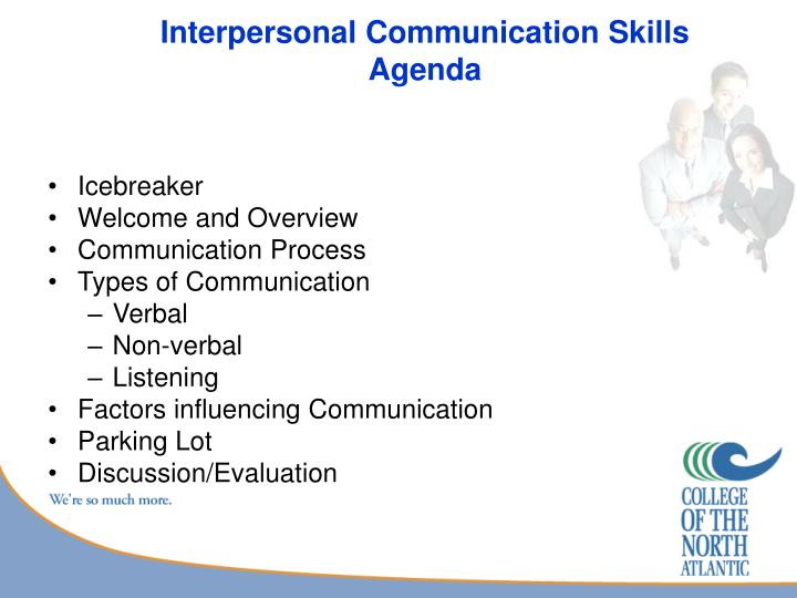 Interpersonal communication skills agenda