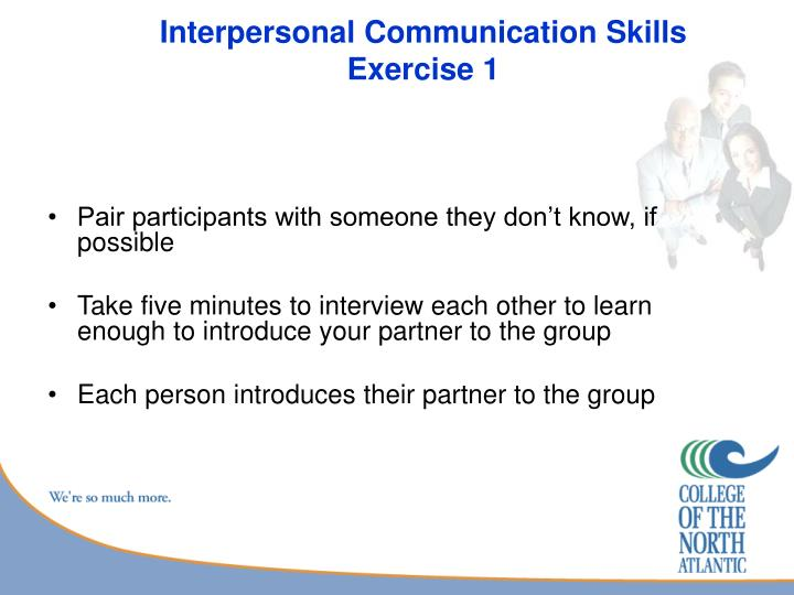 Interpersonal communication skills exercise 1