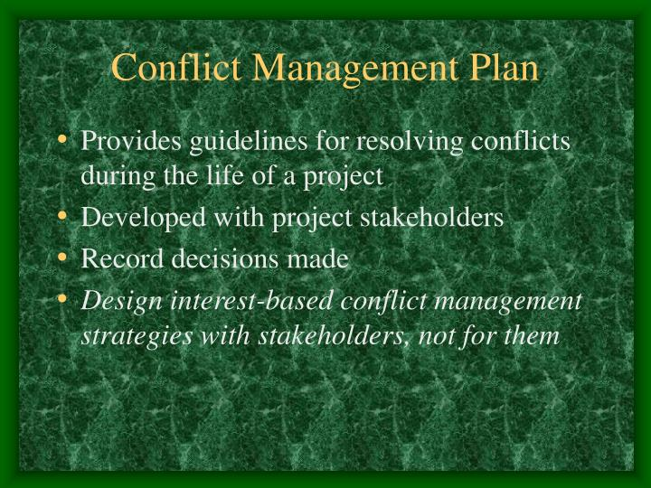 Conflict Management Plan