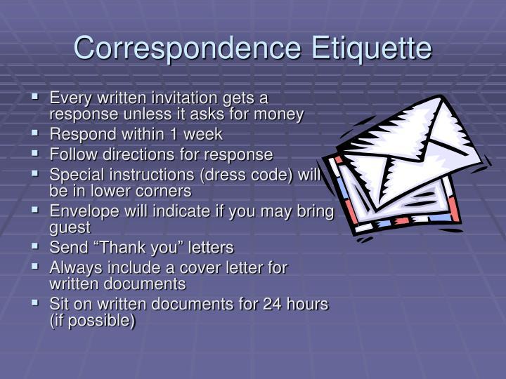 Correspondence Etiquette