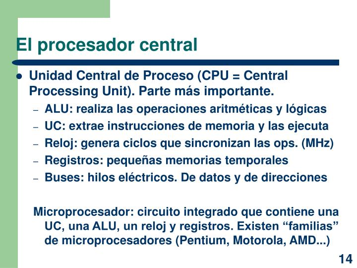 El procesador central