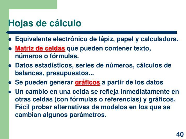 Hojas de cálculo