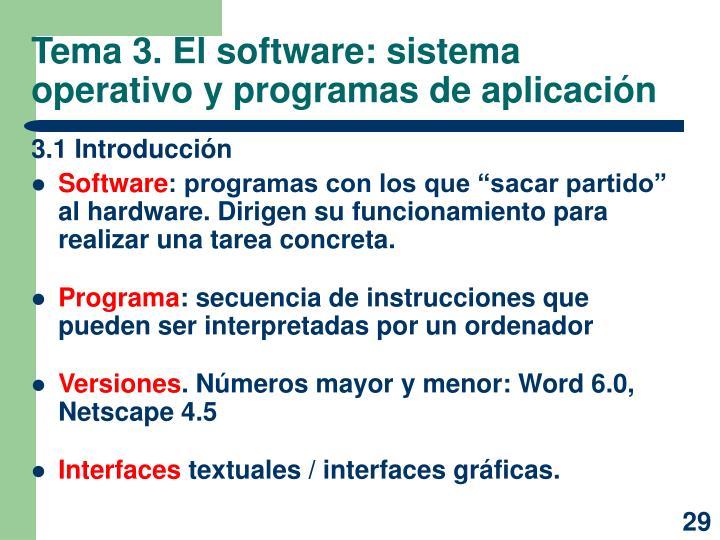 Tema 3. El software: sistema operativo y programas de aplicación