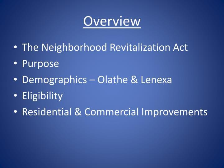 The Neighborhood Revitalization Act