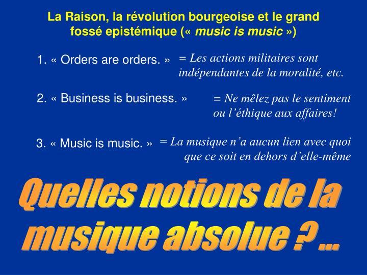 La Raison, la révolution bourgeoise et le grand fossé epistémique («