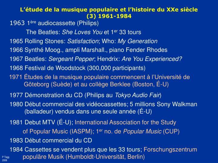 L'étude de la musique populaire et l'histoire du XXe siècle
