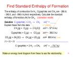 find standard enthalpy of formation