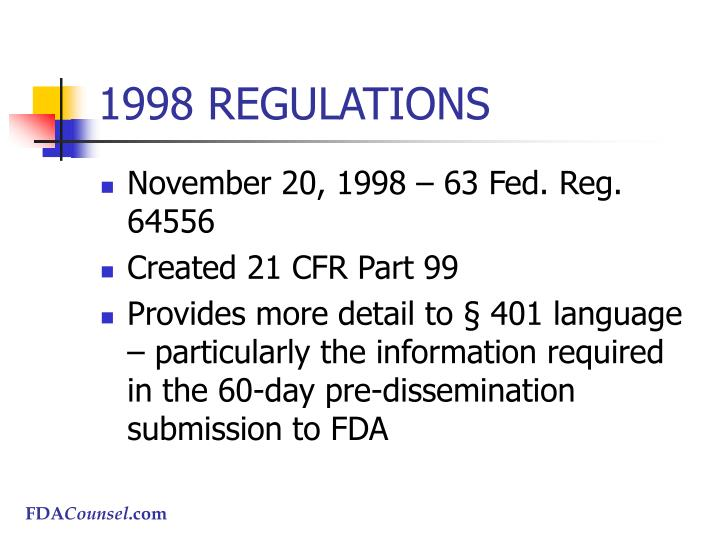 1998 REGULATIONS