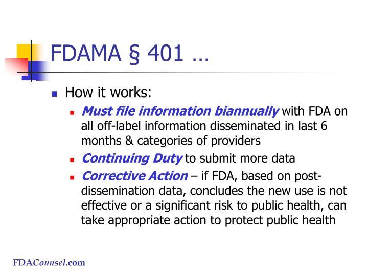FDAMA § 401 …