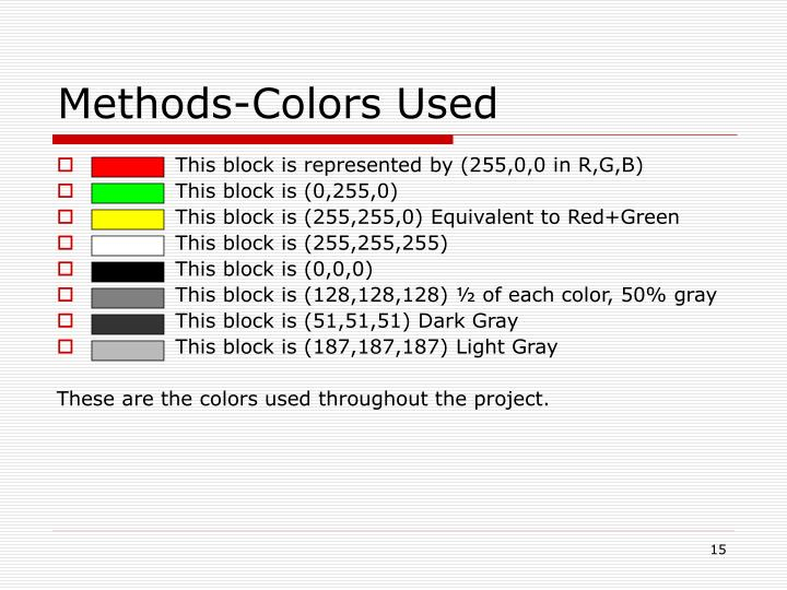 Methods-Colors Used
