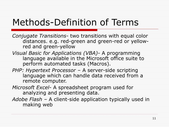 Methods-Definition of Terms