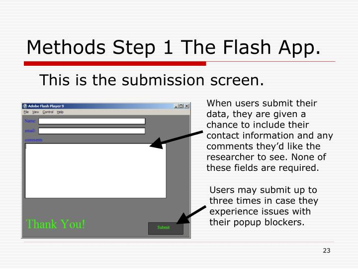 Methods Step 1 The Flash App.