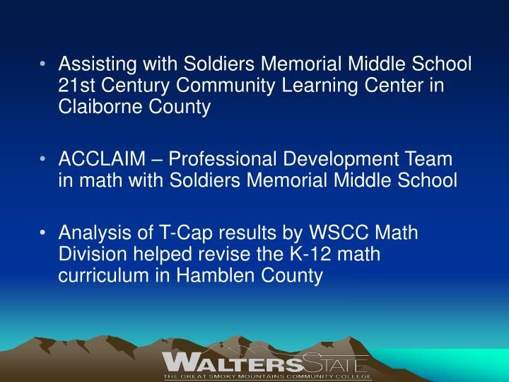 Assisting with Soldiers Memorial Middle School 21st Century Community Learning Center in Claiborne County