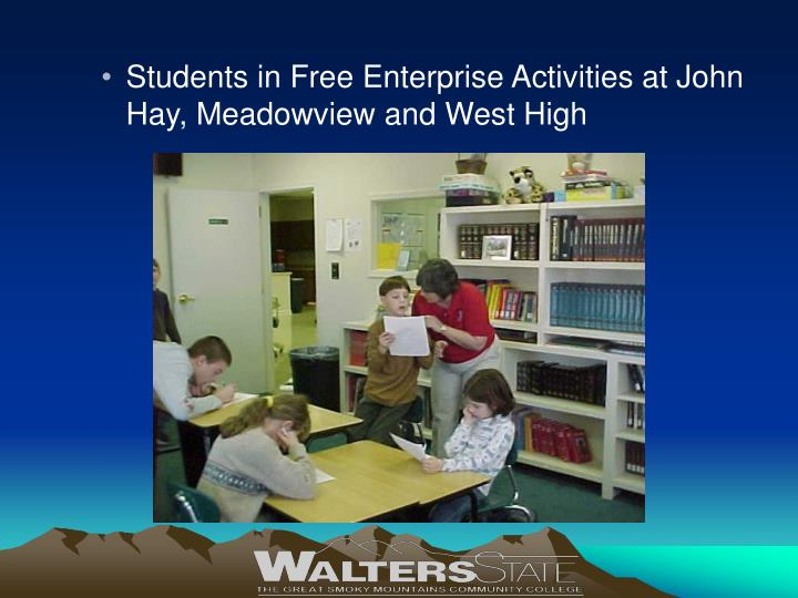 Students in Free Enterprise Activities at John Hay, Meadowview and West High