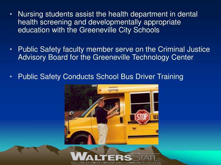 Nursing students assist the health department in dental health screening and developmentally appropriate education with the Greeneville City Schools