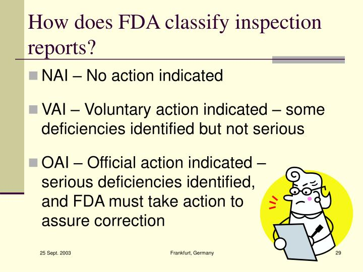 How does FDA classify inspection reports?