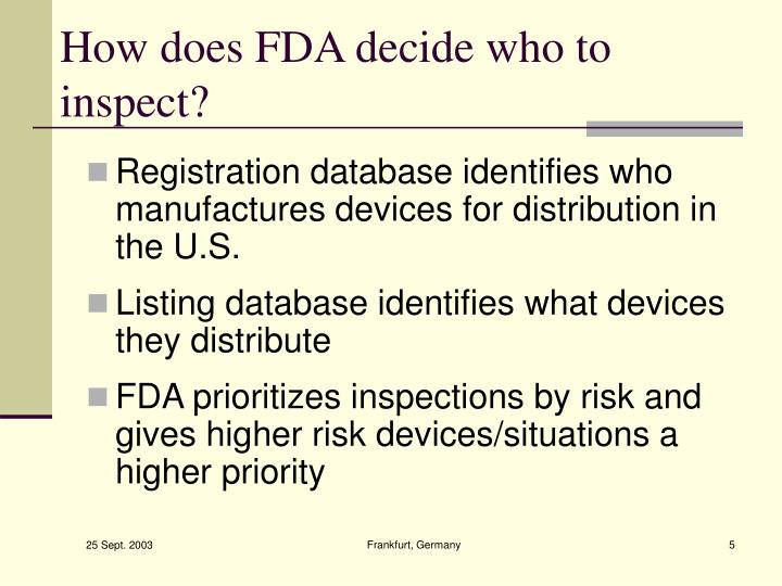 How does FDA decide who to inspect?