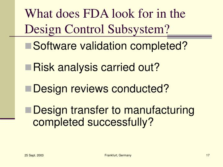 What does FDA look for in the Design Control Subsystem?