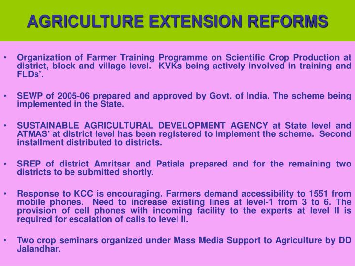AGRICULTURE EXTENSION REFORMS