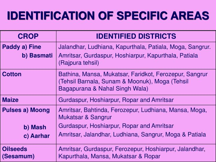 IDENTIFICATION OF SPECIFIC AREAS