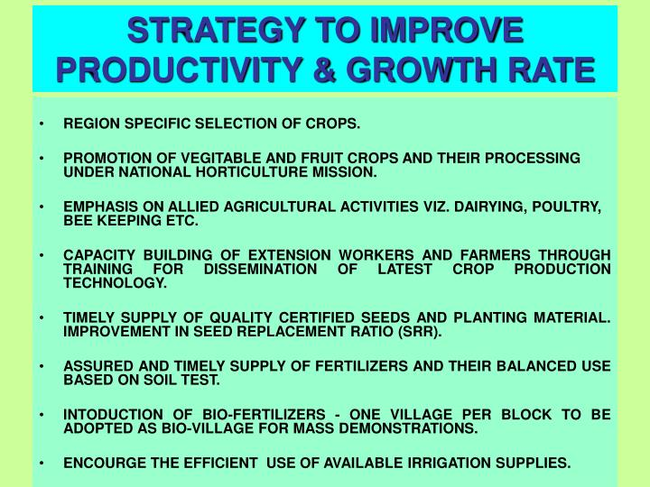 STRATEGY TO IMPROVE PRODUCTIVITY & GROWTH RATE