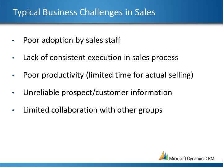 Typical Business Challenges in Sales