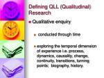 defining qll qualitudinal research