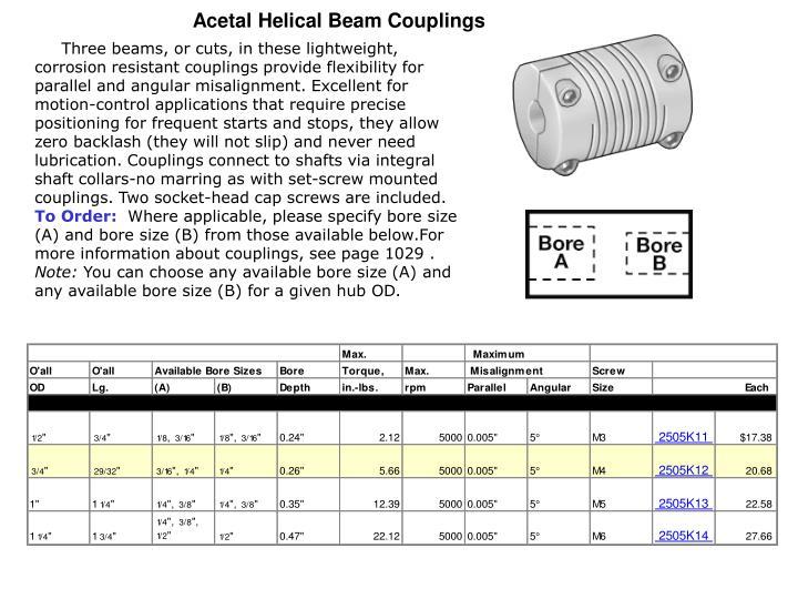 Acetal Helical Beam Couplings
