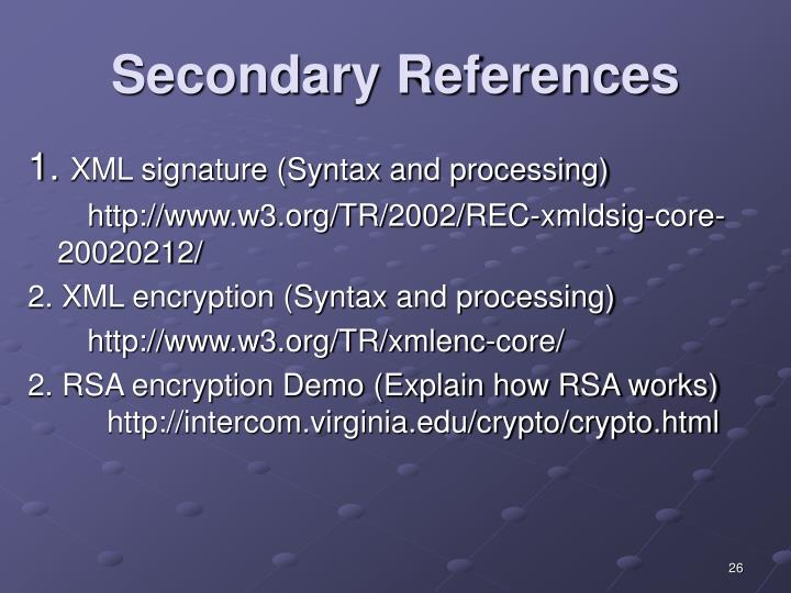 Secondary References