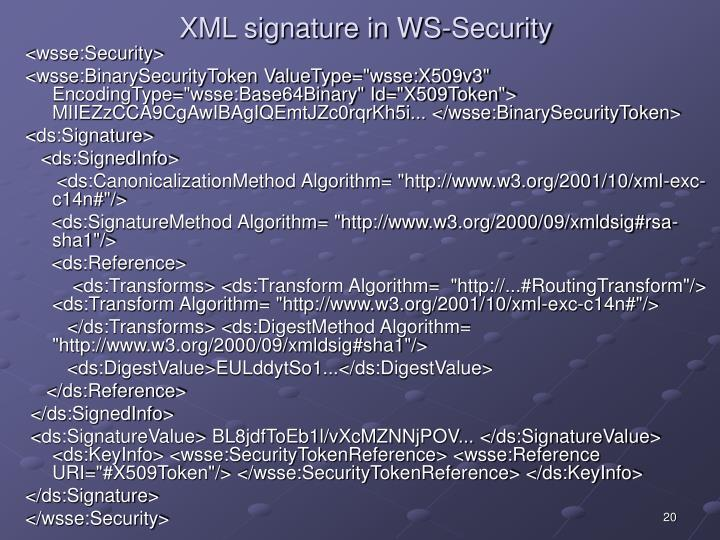 XML signature in WS-Security